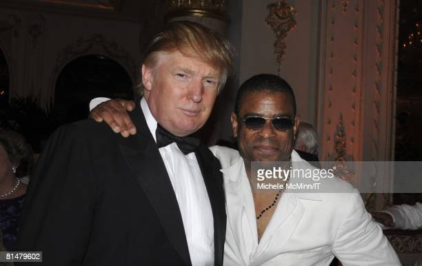 Donald Trump and guest during the wedding reception of Ivana Trump and Rossano Rubicondi at the MaraLago Club on April 12 2008 in Palm Beach Florida