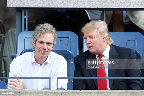 Donald Trump and guest watch the 2008 US Open Men's Championship Match between Andy Murray of the United Kingdom and Roger Federer of Switzerland in...