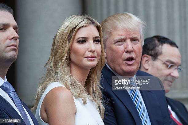 Donald Trump and his daughter Ivanka Trump attend the Trump International Hotel Washington, D.C Groundbreaking Ceremony on July 23, 2014 in...