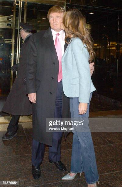 Donald Trump and his fiance Melania Knauss leave Trump Towers December 17 2004 in New York City