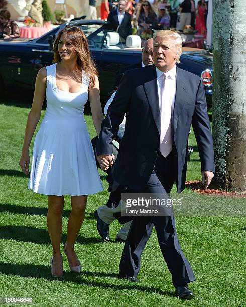 Donald Trump and his wife Melania attend Trump Invitational Grand Prix at MaraLago on January 6 2013 in Palm Beach Florida