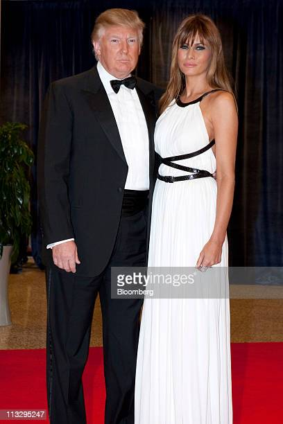 Donald Trump and his wife Melania Trump arrive for the White House Correspondents' Association dinner in Washington DC US on Saturday Aprill 30 2011...