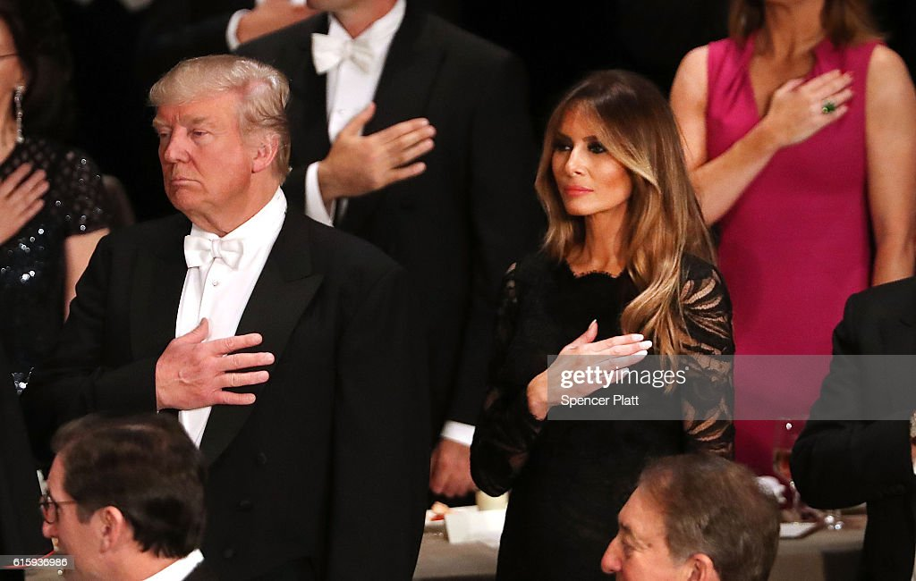 Donald Trump and his wife Melania Trump attend the annual Alfred E. Smith Memorial Foundation Dinner at the Waldorf Astoria on October 20, 2016 in New York City.The white-tie dinner, which benefits Catholic charities and celebrates former Governor of New York Al Smith, has been attended by presidential candidates since 1960 and gives the candidates an opportunity to poke fun at themselves and each other.