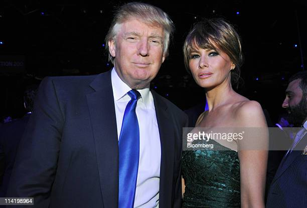 Donald Trump and his wife Melania Trump attend the Robin Hood Foundation gala in New York US on Monday May 9 2011 Wall Street's largest singleevening...