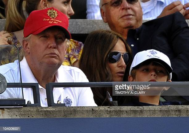 Donald Trump and his wife Melania TrumpTrump and son Barron William Trump watch Roger Federer of Switzerland play Serbia's Novak Djokovic in the US...