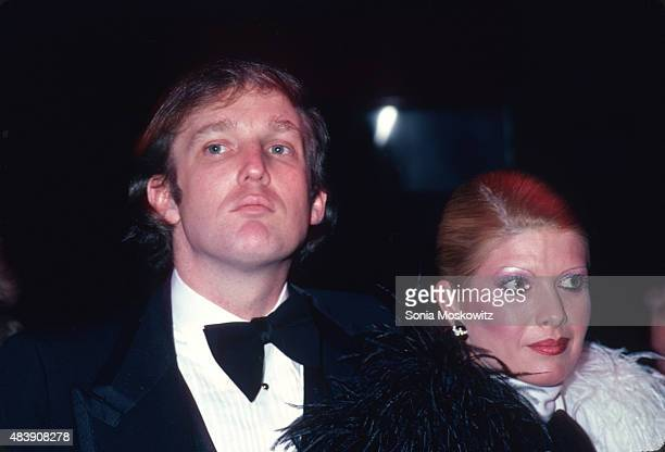 Donald Trump and Ivana Trump attend Roy Cohn's birthday party in February 1980 in New York City