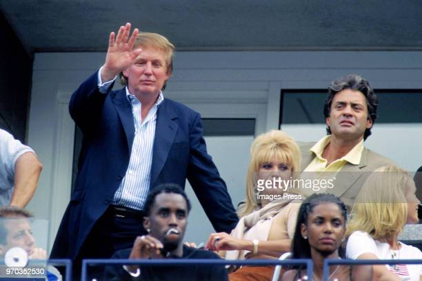 Donald Trump and Ivana Trump watch tennis at the US Open circa September 1997 in New York City.