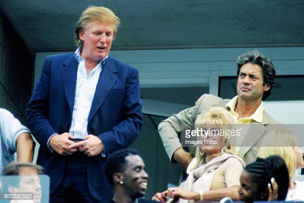 Donald Trump and Ivana Trump watch tennis at the US Open circa September 1997 in New York City