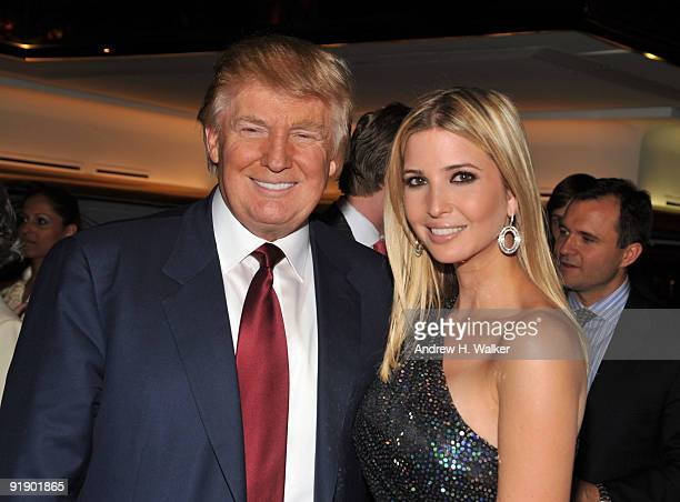 "Donald Trump and Ivanka Trump attend the ""The Trump Card: Playing to Win in Work and Life"" book launch celebration at Trump Tower on October 14, 2009..."