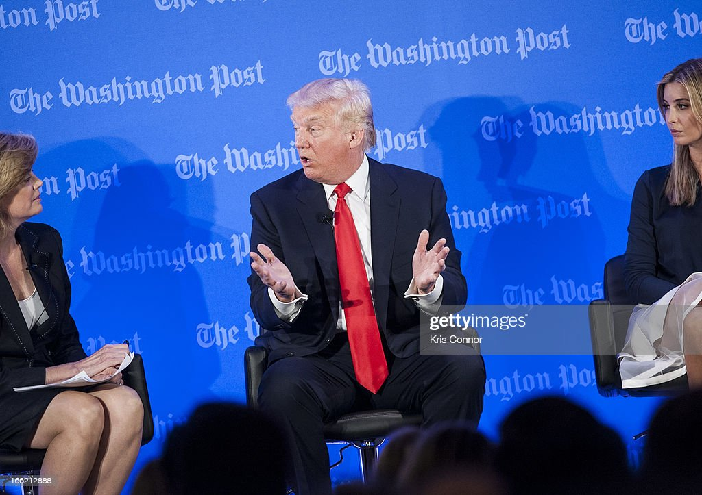 Donald Trump and Ivanka Trump speak during a forum on 'Washington real estate -- including plans to renovate the landmark Old Post Office on Pennsylvania Avenue and views on property values and trends in Washington.' at Washington Post on April 10, 2013 in Washington, DC.