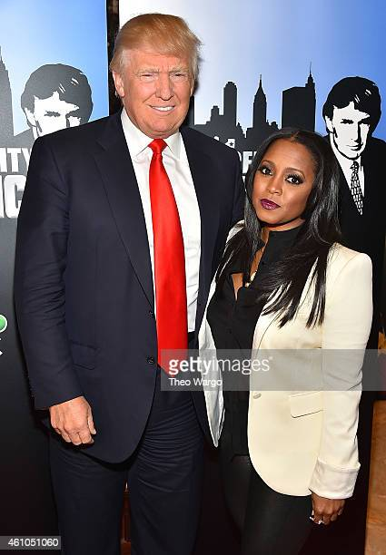 Donald Trump and Keshia Knight Pulliam attend the Celebrity Apprentice Red Carpet Event at Trump Tower on January 5 2015 in New York City