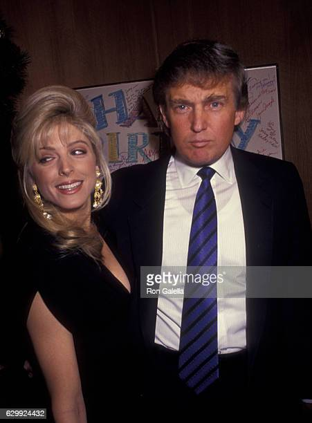 Donald Trump and Marla Maples attend 80th Birthday Party for Joey Adams on January 7 1991 at the Helmsley Hotel in New York City