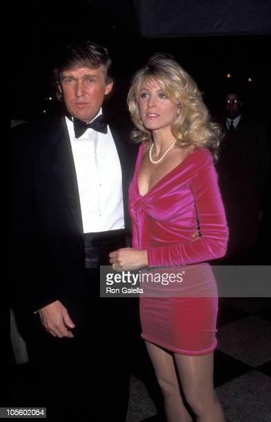 Donald Trump and Marla Maples during Arista Records PreGrammy Party February 24 1992 at Plaza Hotel in New York City New York United States