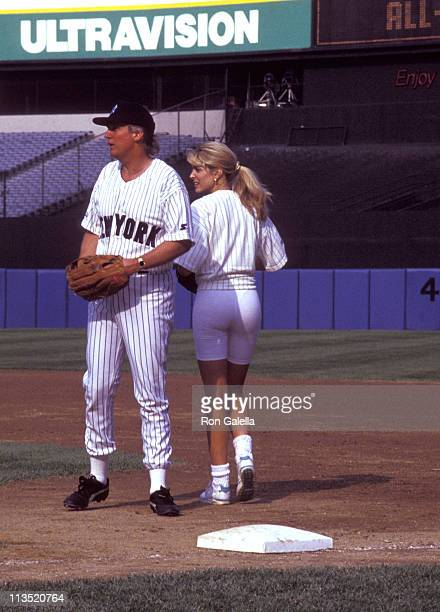 Donald Trump and Marla Maples during Donald Trump's NY vs Hollywood AllStar Game June 6 1992 at Yankee Stadium in New York City New York United States