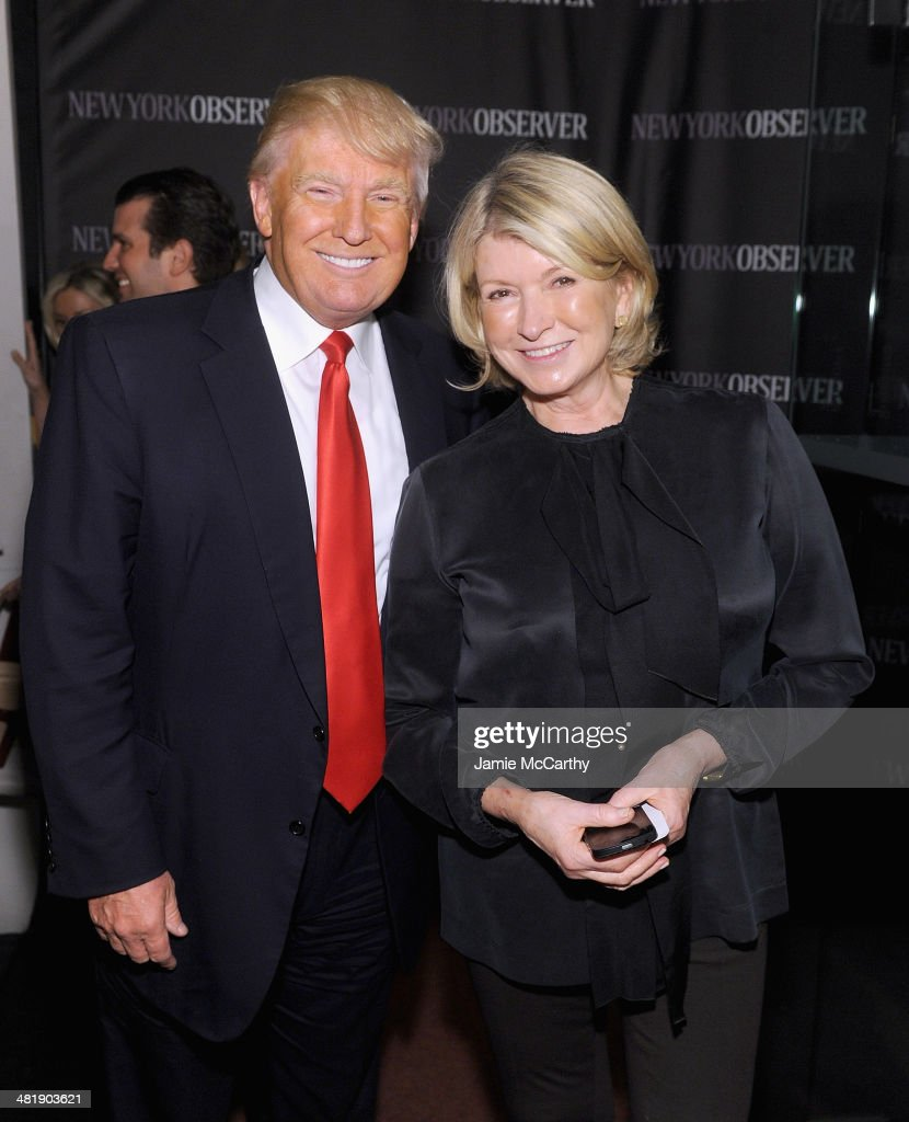 Donald Trump and Martha Stewart attend The New York Observer Relaunch Event on April 1, 2014 in New York City.