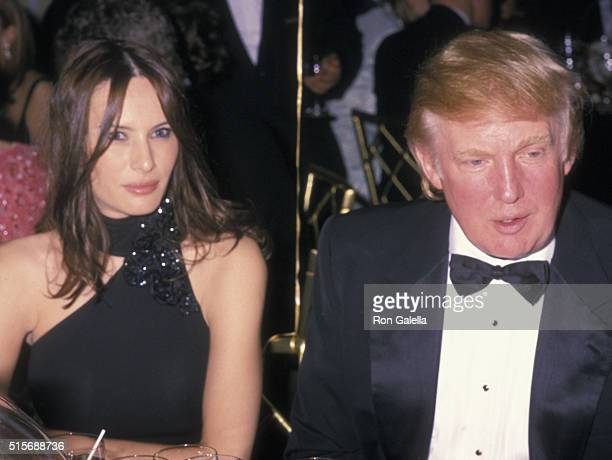 Donald Trump and Melania Knauss attend Man of Achievement Awards Honoring Regis Philbin on May 7 2001 at the Pierre Hotel in New York City