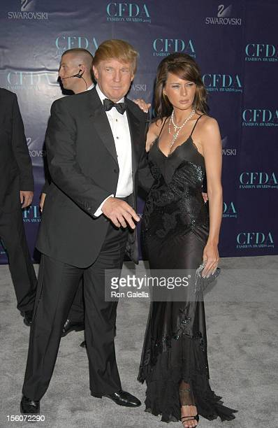 Donald Trump and Melania Knauss during 2004 CFDA Fashion Awards Arrivals at New York Public Library in New York City New York United States