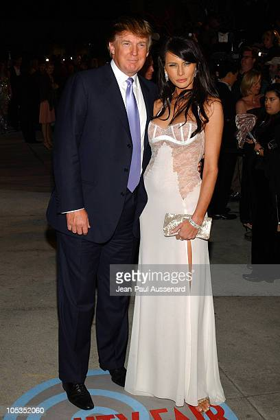 Donald Trump and Melania Knauss during 2004 Vanity Fair Oscar Party Arrivals at Mortons in Beverly Hills California United States