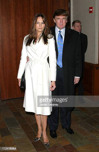 Donald Trump and Melania Knauss during Anna Wintour and Harvey Weinstein Cohost Screening of Chicago at Tribeca Grand Hotel in New York City New York...