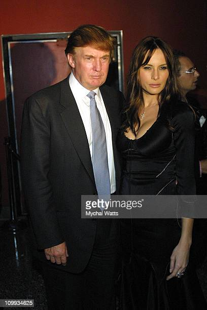 Donald Trump and Melania Knauss during David Copperfield Birthday party at GQ Lounge in New York City New York United States