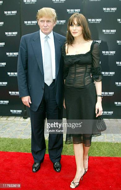 Donald Trump and Melania Knauss during Golf Digest Companies Celebrates the 2002 US Open Golf Championship at Oheka Castle in Cold Spring Hills New...