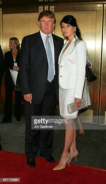 Donald Trump and Melania Knauss during NBC 20042005 Upfront Arrivals at Radio City Music Hall in New York City New York United States