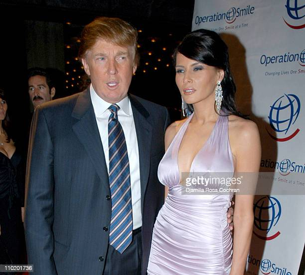 Donald Trump and Melania Knauss during Operation Smile Collection 2004 Couture Event at Whitney Museum in New York City New York United States