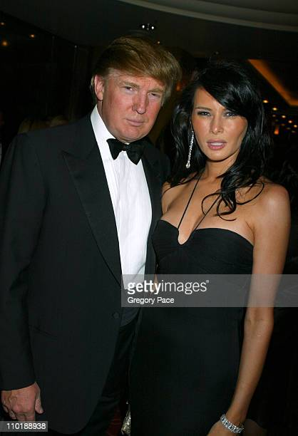 Donald Trump and Melania Knauss during The Entertainment Industry Foundation's 2nd Hollywood Hits Broadway Benefit Gala for Colon Cancer VIP Cocktail...