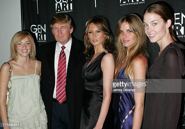 Donald Trump and Melania Knauss with Models during 'Apprentice II' Fashion Episode Viewing Party Hosted by Gen Art and Trump Model Management at...