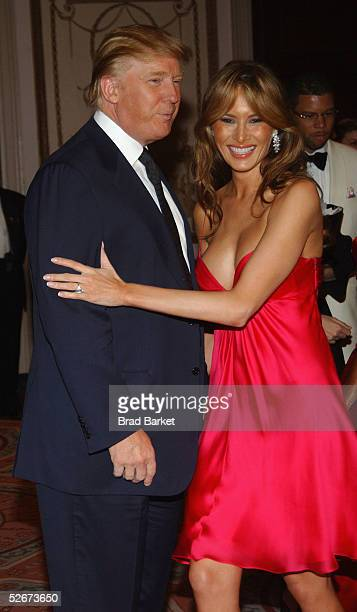 Donald Trump and Melania Trump arrive at the Breast Cancer Research Foundation's Annual Hot Pink Party at the WaldorfAstoria on April 20 2005 in New...