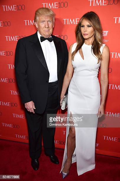 Donald Trump and Melania Trump attend 2016 Time 100 Gala, Time's Most Influential People In The World red carpet at Jazz At Lincoln Center at the...