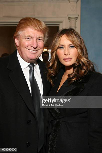Donald Trump and Melania Trump attend CHARLES B RANGEL Book Party Hosted by MAYOR MICHAEL BLOOMBERG at Gracie Mansion on April 10 2007 in New York...