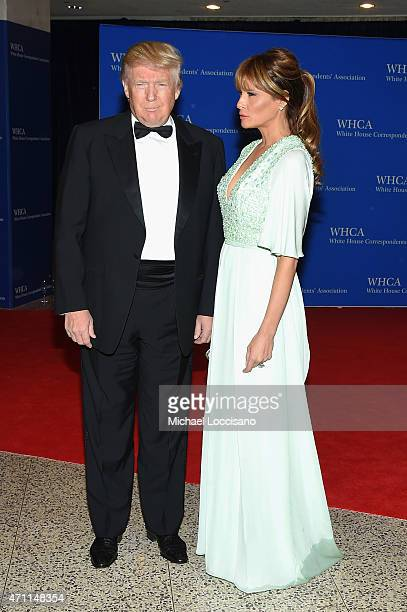 Donald Trump and Melania Trump attend the 101st Annual White House Correspondents' Association Dinner at the Washington Hilton on April 25 2015 in...