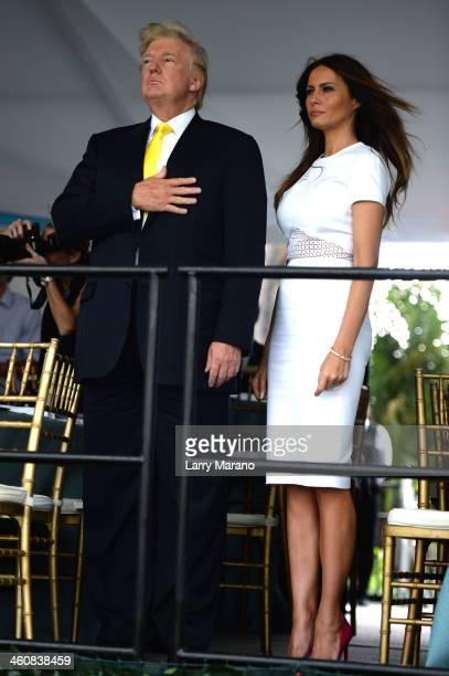 Donald Trump and Melania Trump attend the 2014 Trump Invitational Grand Prix at The MaraLago Club on January 5 2014 in Palm Beach Florida
