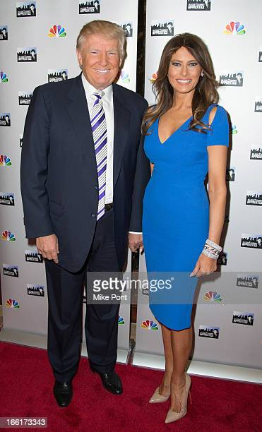 Donald Trump and Melania Trump attend the 'Celebrity Apprentice AllStar Event with Donald and Melania Trump' at Trump Tower on April 9 2013 in New...