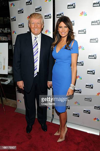Donald Trump and Melania Trump attend the Celebrity Apprentice AllStar event at Trump Tower on April 9 2013 in New York City
