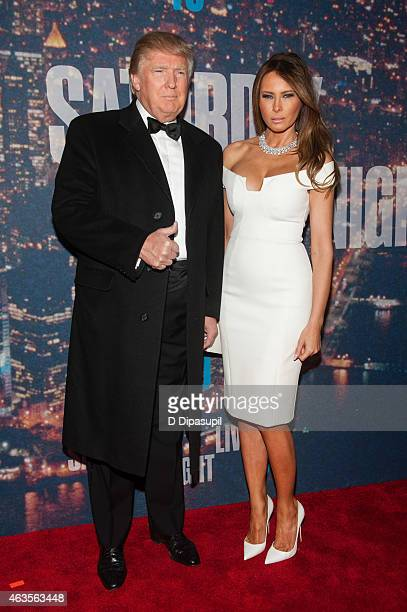 Donald Trump and Melania Trump attend the SNL 40th Anniversary Celebration at Rockefeller Plaza on February 15 2015 in New York City
