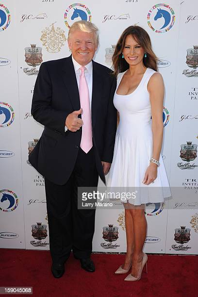Donald Trump and Melania Trump attend Trump Invitational Grand Prix at MaraLago on January 6 2013 in Palm Beach Florida