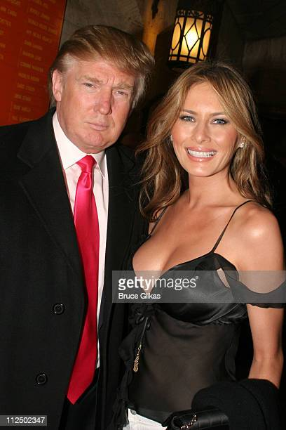 Donald Trump and Melania Trump during 'Sweet Charity' Broadway Opening Night Arrivals at The Al Hirshfeld Theater in New York City New York United...