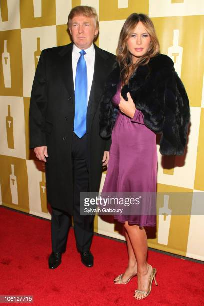 Donald Trump and Melania Trump during Trump Vodka Launch Party Red Carpet at Trump Tower at 725 Fifth Avenue in New York City New York United States