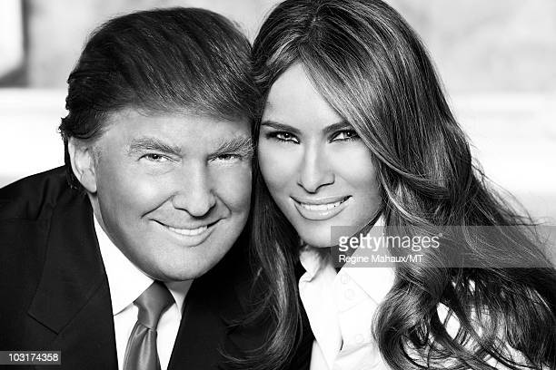 Donald Trump and Melania Trump pose for a portrait on April 14 2010 in New York City Donald Trump is wearing a suit and tie by Brioni Melania Trump...