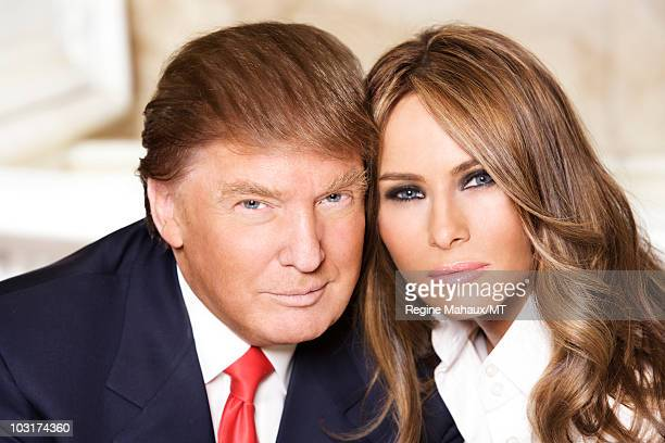 Donald Trump and Melania Trump pose for a portrait on April 14, 2010 in New York City. Donald Trump is wearing a suit and tie by Brioni, Melania...
