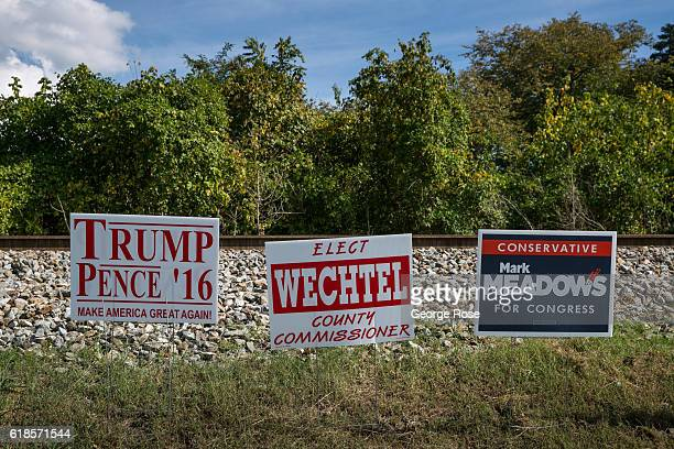 Donald Trump and Mike Pence lawn sign appears across the street from an early polling place located adjacent to the Appalachian Trail as viewed on...
