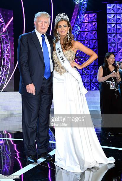 Donald Trump and Miss Connecticut USA Erin Brady pose onstage after Brady won the 2013 Miss USA pageant at PH Live at Planet Hollywood Resort Casino...