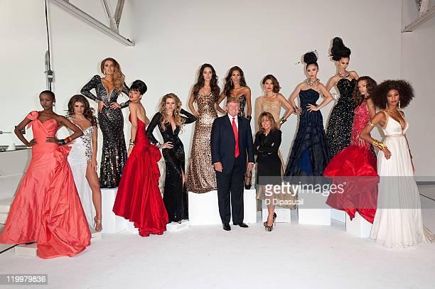 Donald Trump and Miss Universe Organization President Paula Shugart and Miss Tanzania 2007 Flaviana Matata Miss Albania 2010 Angela Martini Miss...