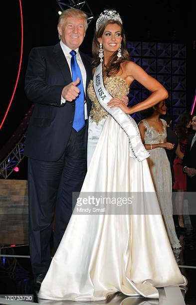 Donald Trump and Miss USA 2013 Erin Brady attend a news conference following the 2013 Miss USA competition at Planet Hollywood Resort Casino on June...