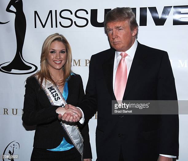 Donald Trump and Miss USA Tara Conner pose during press conference at Trump Tower on December 19 2006 in New York City Developer Donald Trump who...