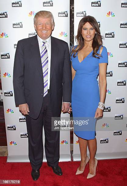 Donald Trump and model Melania Trump attend the 'Celebrity Apprentice AllStar' event at Trump Tower on April 9 2013 in New York City
