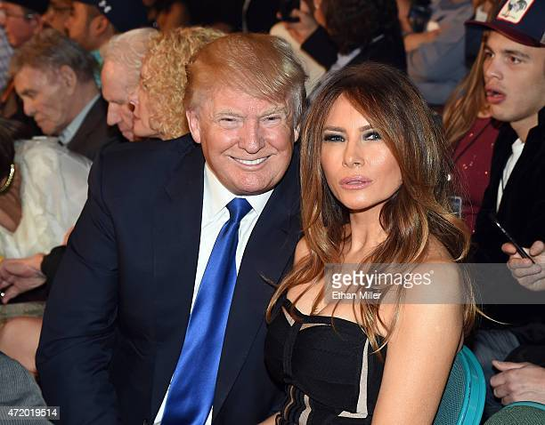 Donald Trump and model Melania Trump pose ringside at Mayweather VS Pacquiao presented by SHOWTIME PPV And HBO PPV at MGM Grand Garden Arena on May 2...