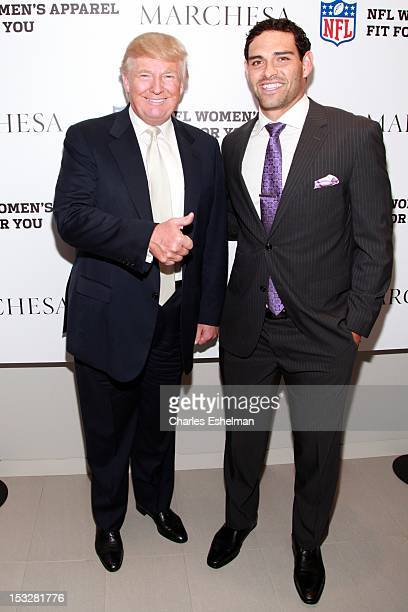 Donald Trump and NY Jets quarterback Mark Sanchez attends the Limited Edition Marchesa/NFL Collaboration Launch at National Football League on...